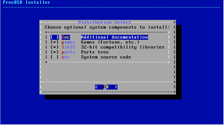 FreeBSD Distribution Selection Screen Shot
